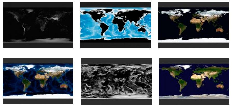 Mapas satélite mundiales sin nubes del Blue Marble