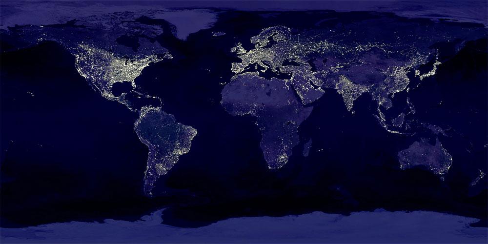 Blue Marble de imágenes mundiales nocturnas
