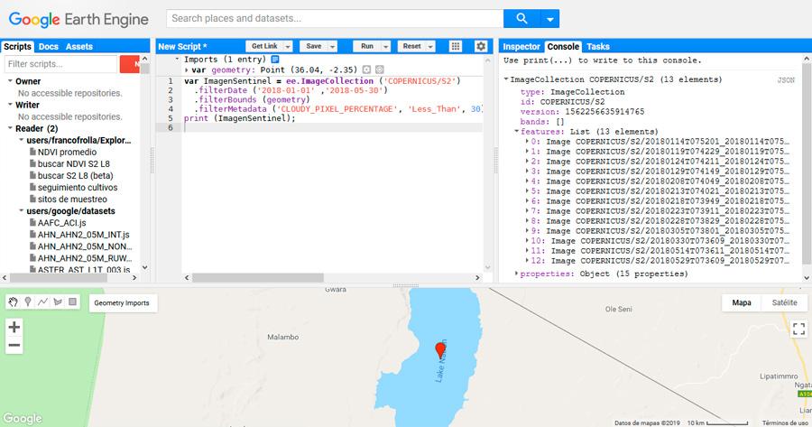 Visualización de imágenes y creación de scripts en GEE