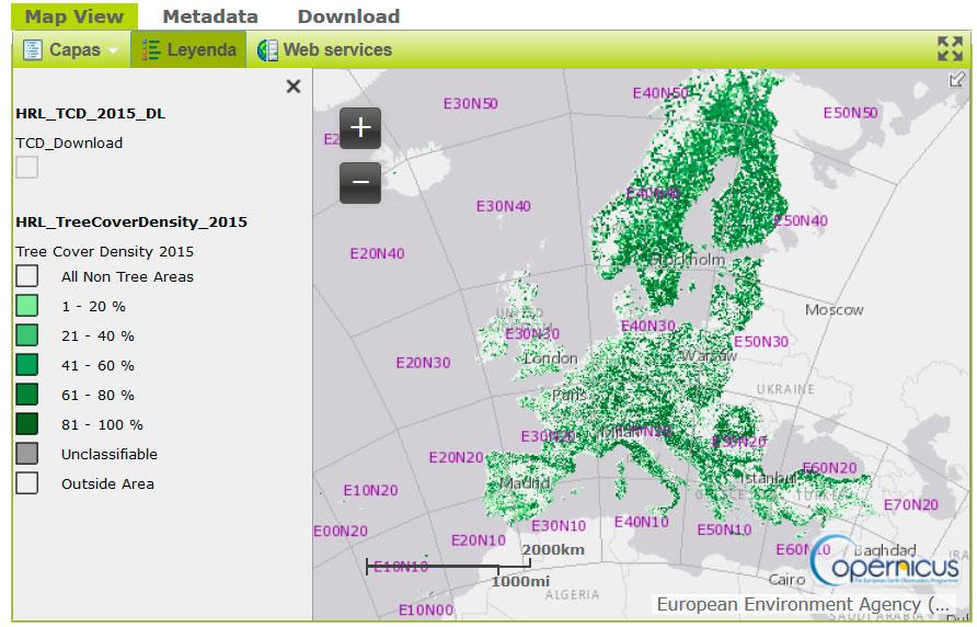 Descargar mapa forestal de densidad de cobertura arbórea