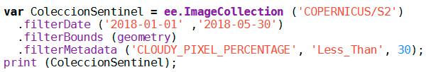 Filtros en scripts para Google Earth Engine