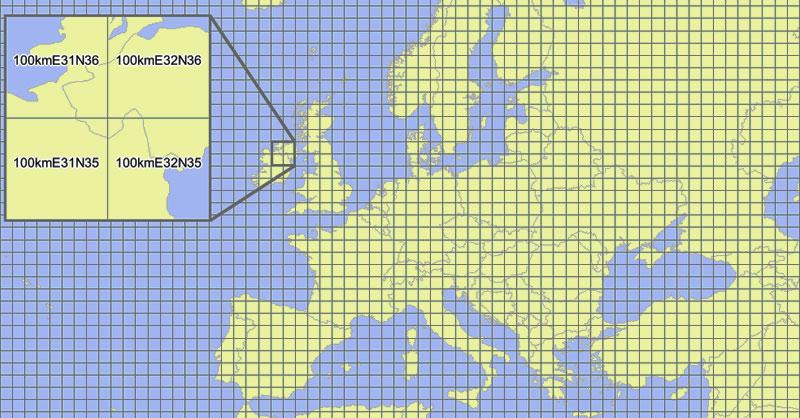 Malla de cuadrículas ETRS89-LAEA de la Unión Europea