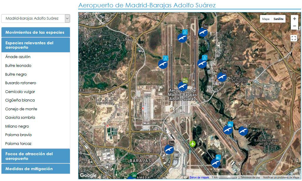 Mapa de Fauna de Interés para la Aviación de AESA