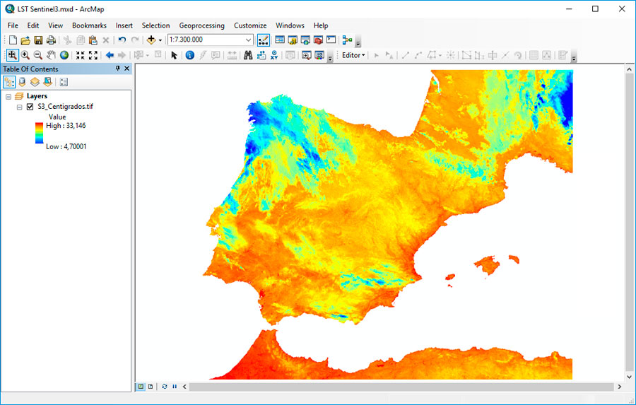 Mapas de temperatura superficial en ArcGIS