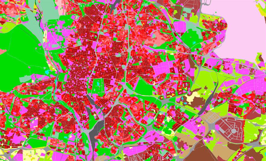 Mapa de usos del suelo urbanos