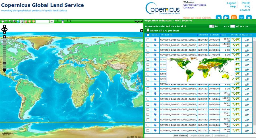 Descargar datos munidales NDVI en tiempo real