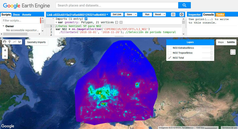 Descarga de datos atmosféricos con GEE