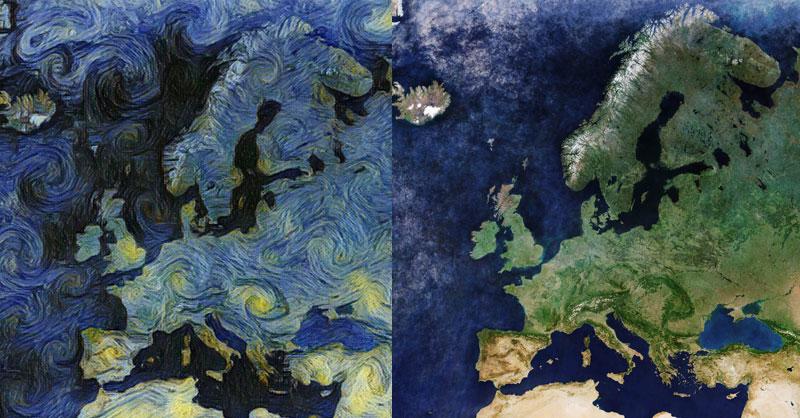 Imágenes Sentinel convertidas en arte Van Gogh