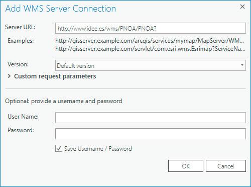 Añadir servidores WMS en ArcGIS Pro