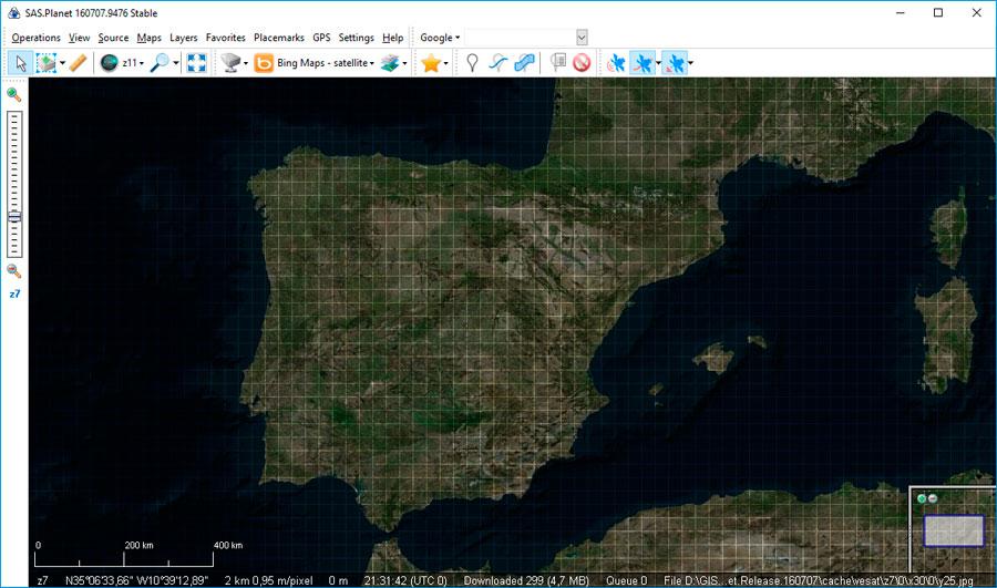 SAS Planet para descarga de imágenes y mapas