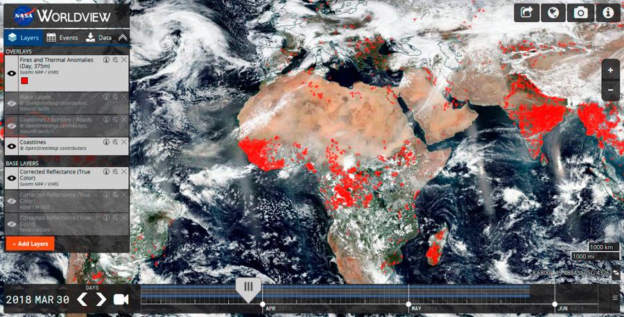 World View para identificar y descargar cartografía de incendios