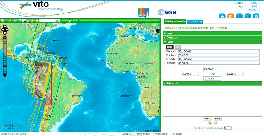 Visor VITO de imágenes satelitales PROBA-V