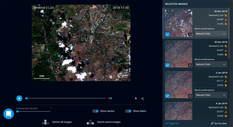 Configurar creación de timelapses para imágenes satélite