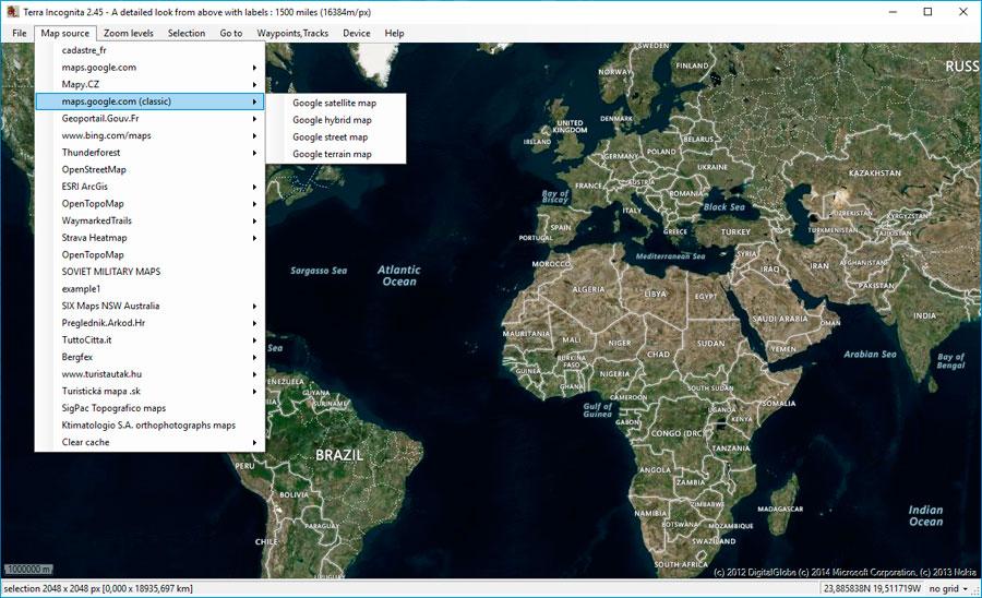 Descarga de mapas e imagenes satélite con Terra Incognita