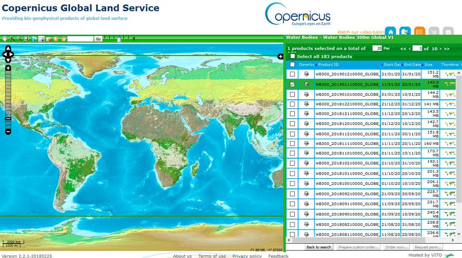 Descarga cartografía de masas de agua mundiales