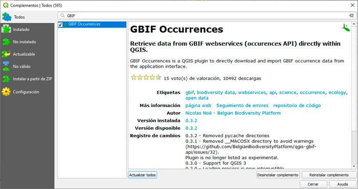 Plugin QGIS para descargar distribución de especies GBIF
