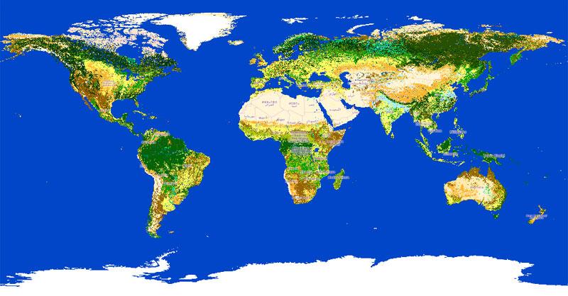 Mapa de usos del suelo mundial de la ESA