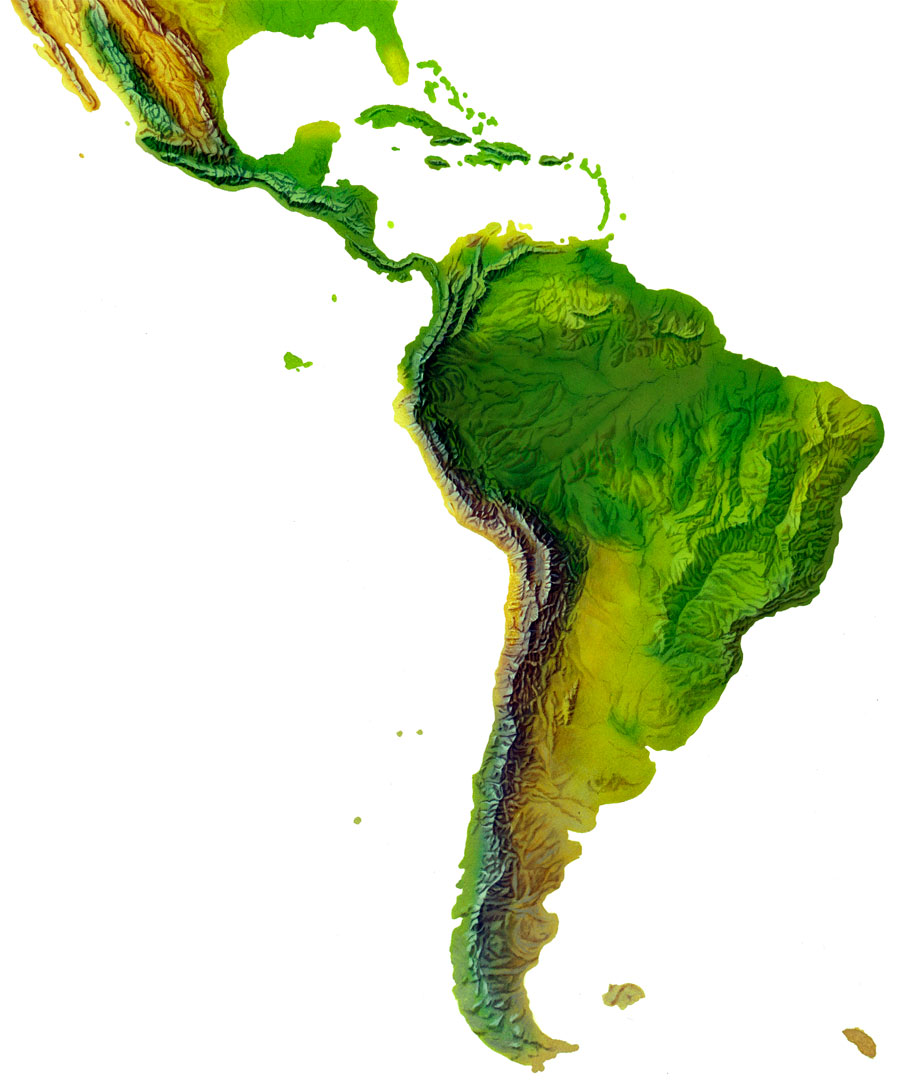Mapas de relieve altitudinal de America del Sur