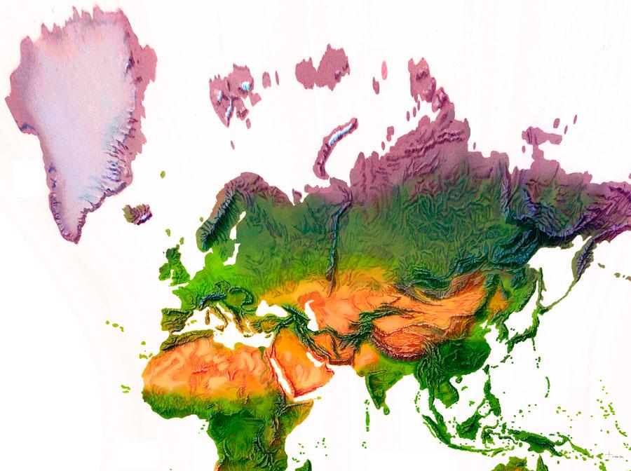 Mapas de relieve altitudinal DEM de Europa