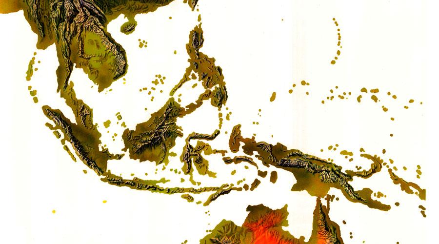 Mapas de relieve altitudinal DEM Oceanía
