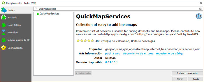 Descargar plugin QuickMapService para imágenes satélite