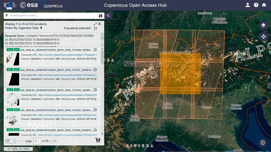 Descarga de imágenes Sentinel del Proyecto Copernicus