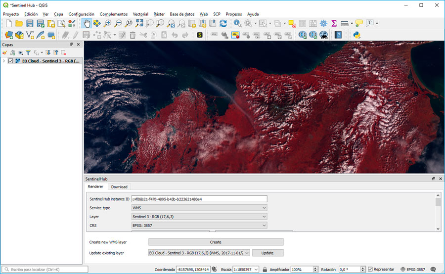 Visualizacion de imágenes Sentinel con plugin QGIS Sentinel Hub