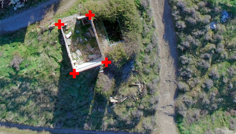 GCP de elementos en mosaicos de drones
