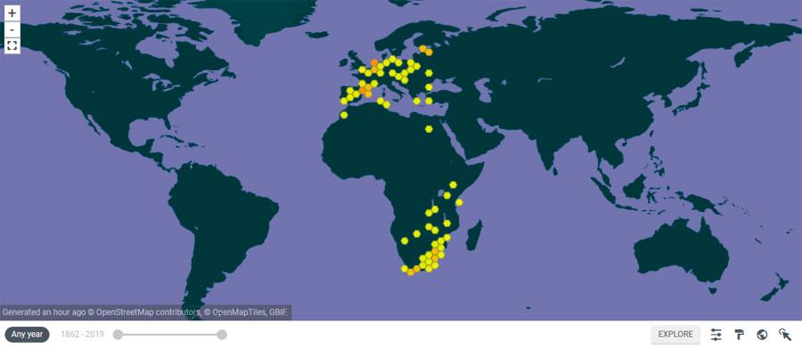 Mapas de distribución de especies del GBIF