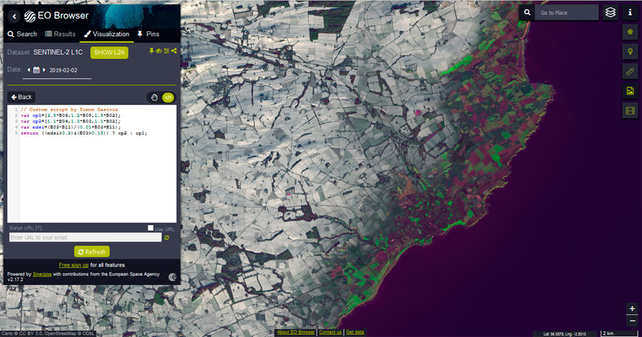 Scripts para análisis de teledetección en EO Browser y Sentinel Playground