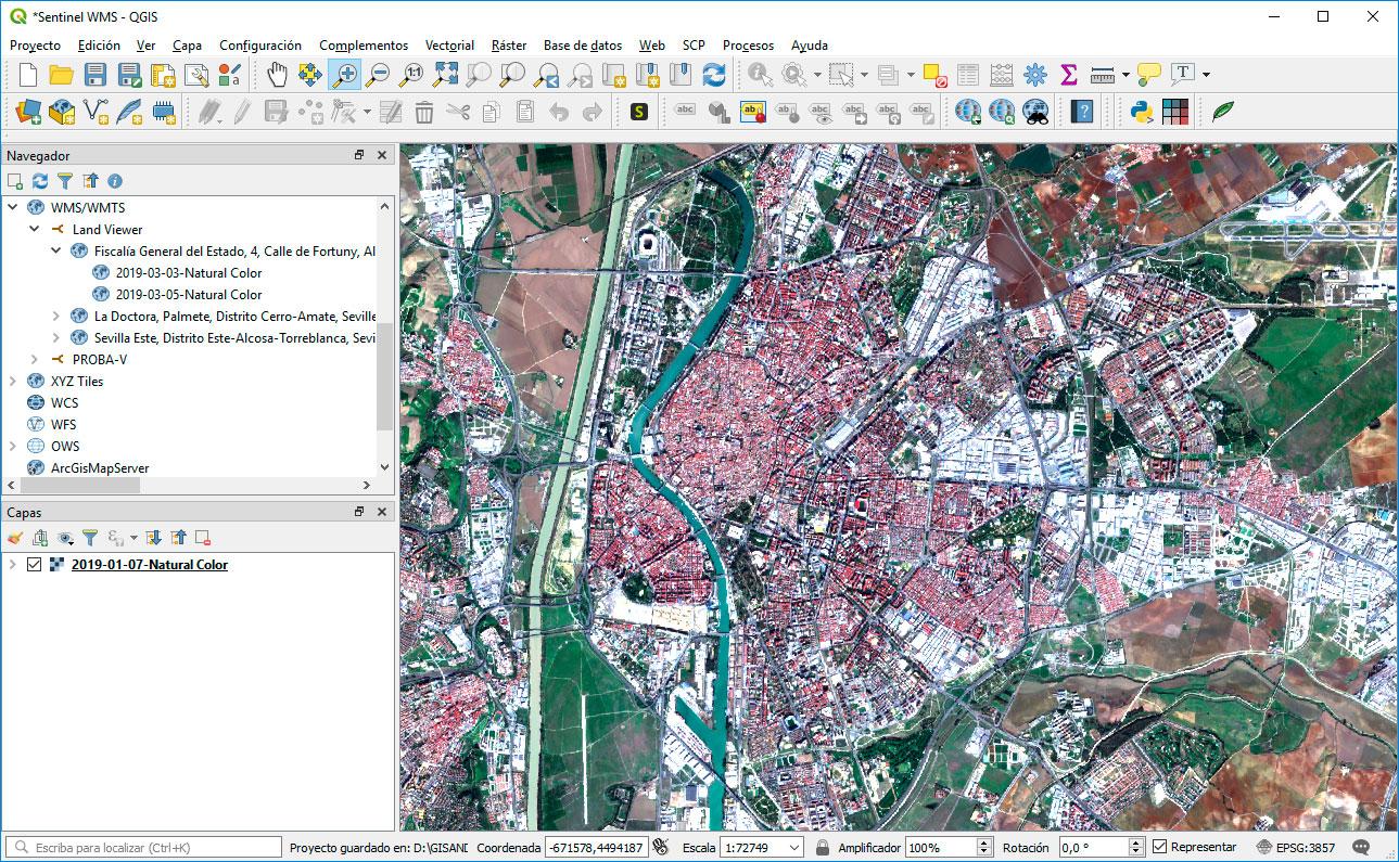 Añadir WMS satélite en QGIS