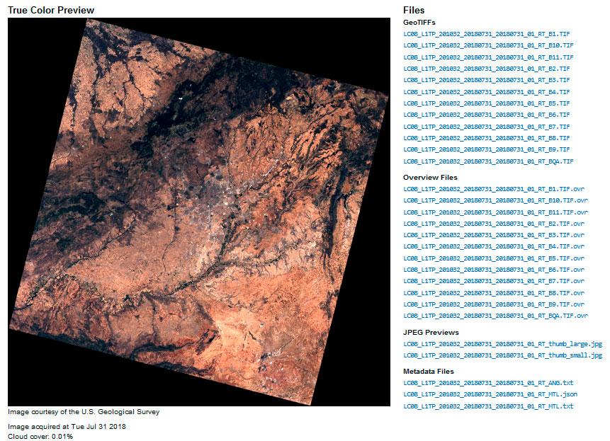 Descarga de imágenes satelitales Landsat