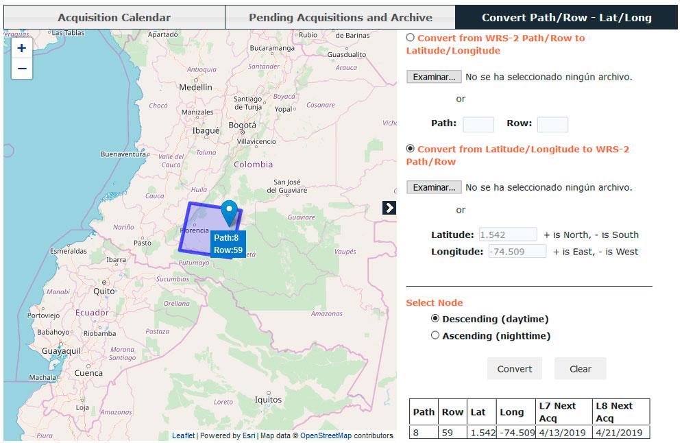 Identificación del path y row de Landsat