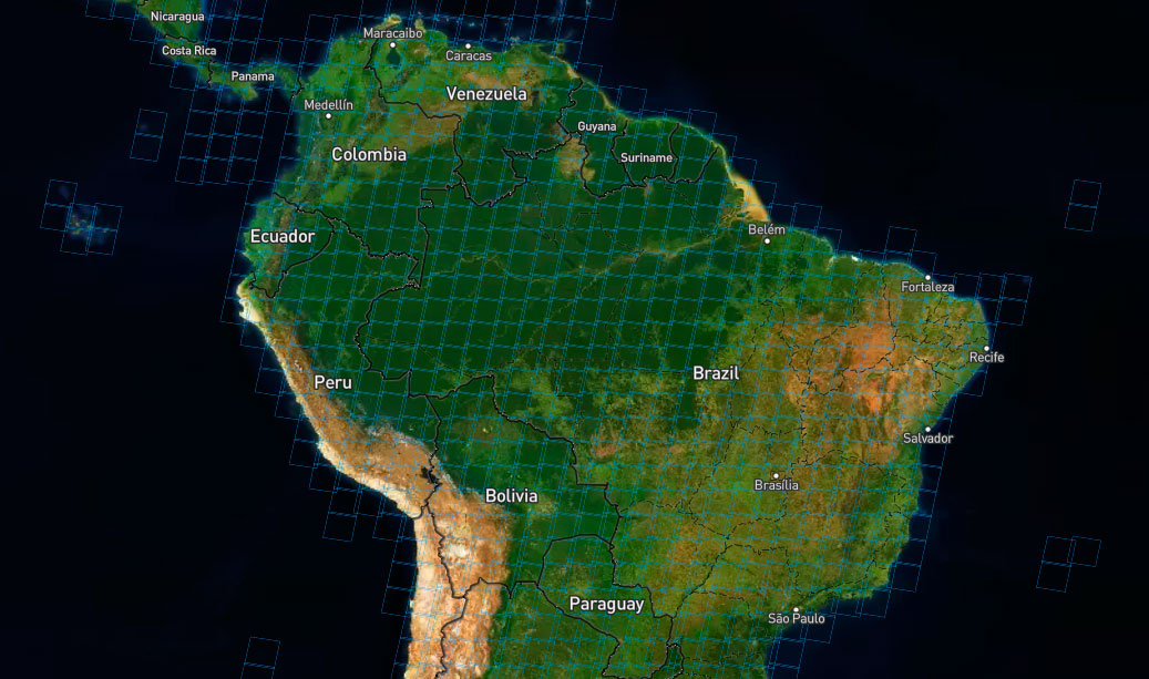 Malla path y row de Landsat