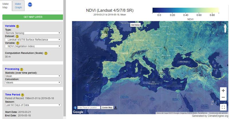 Descargar datos climáticos con Climate Engine