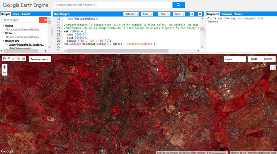 Combinación RGB de imágenes satélite en Google Earth Engine