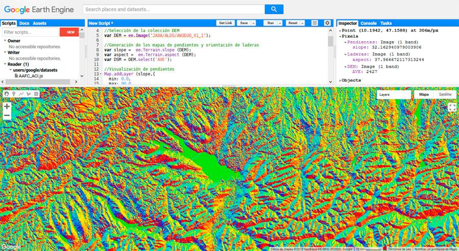 Mapas de pendientes y orientación de laderas en GEE