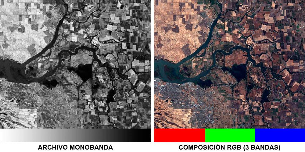Combinación de bandas de imágenes satelite