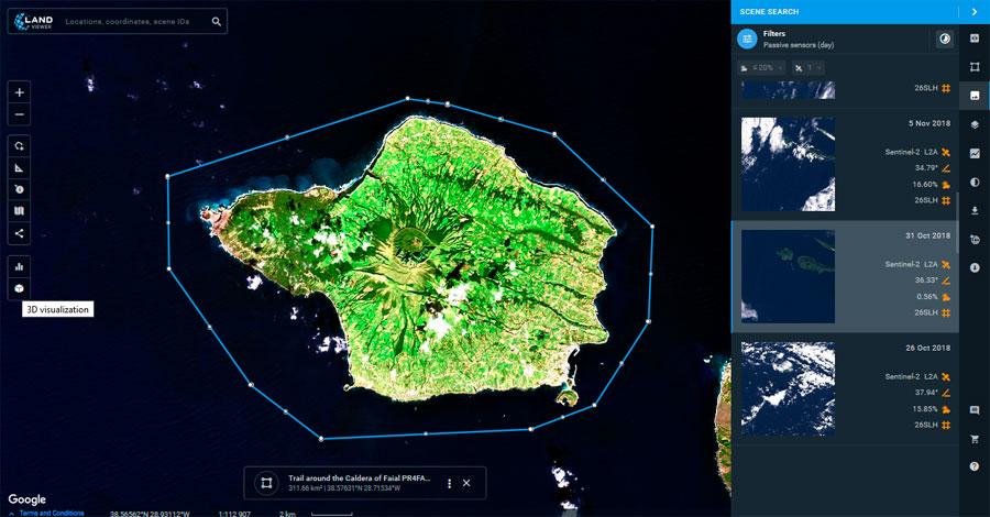 Imágenes satelitales 3D en Land Viewer