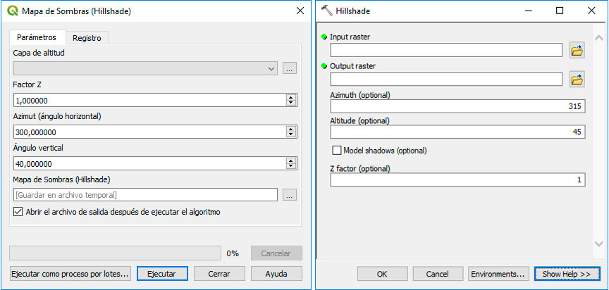 Creación de archivos hillshade de sombreado de laderas