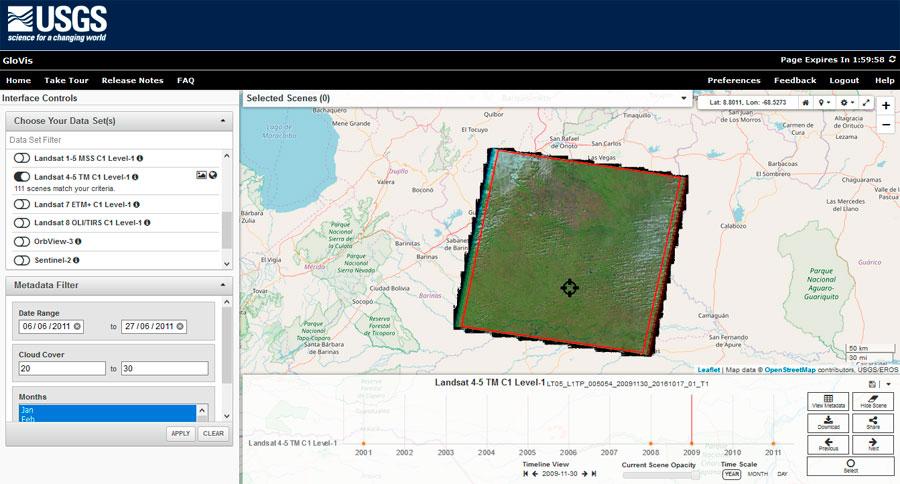 Descarga de imágenes satélite USGS