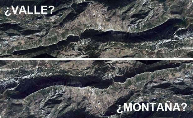 Valle y montaña: fotointerpretación de sombras