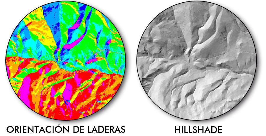 Hillshade y orientación de laderas