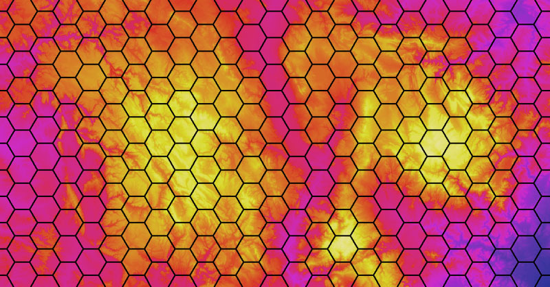 Malla de cuadrículas hexagonales 1x1 y 10x10