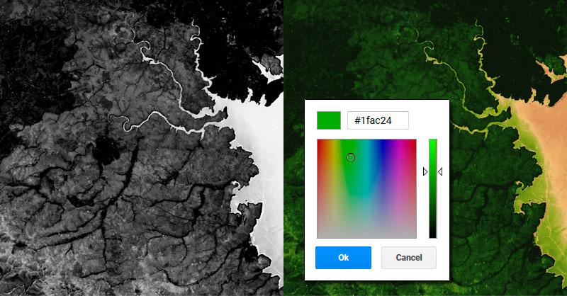Simbología de colores en Google Earh Engine