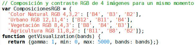 Composición RGB de imágenes en GEE