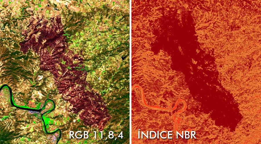 Comparativa de incendios con imágenes satelitales