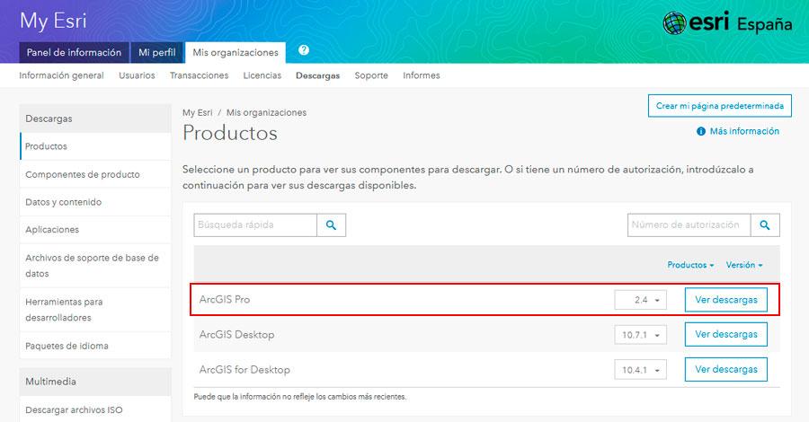 Versiones de ArcGIS Pro para descargar