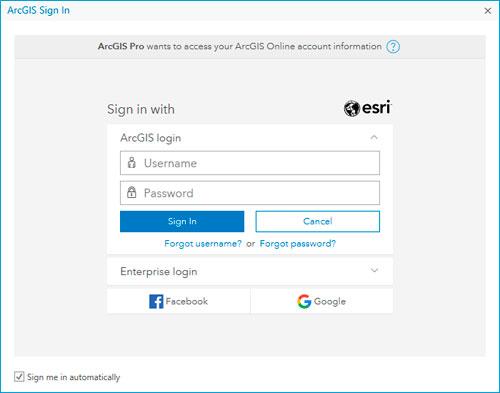 Usuario y contraseña en ArcGIS Pro