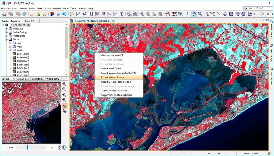 Cómo exportar imágenes en SNAP